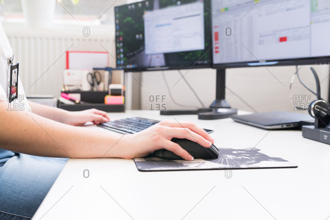 Woman using a computer in an office