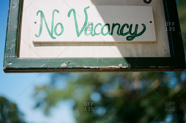 """Hand painted """"No Vacancy"""" sign"""
