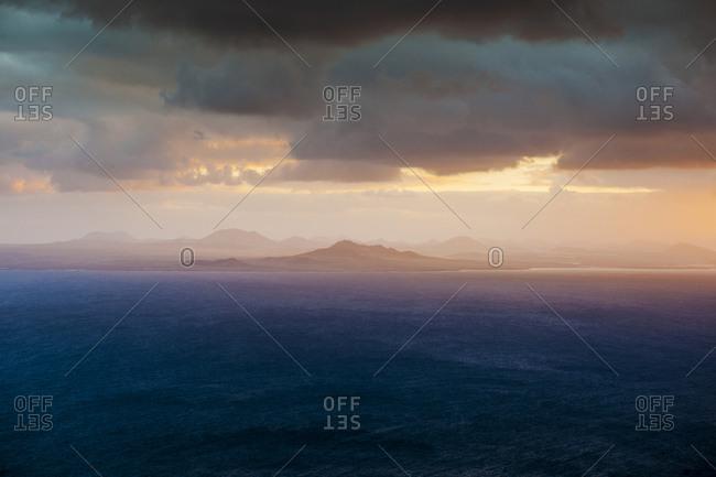 Canary Islands (Spain), La Graciosa . sunset over Lanzarote
