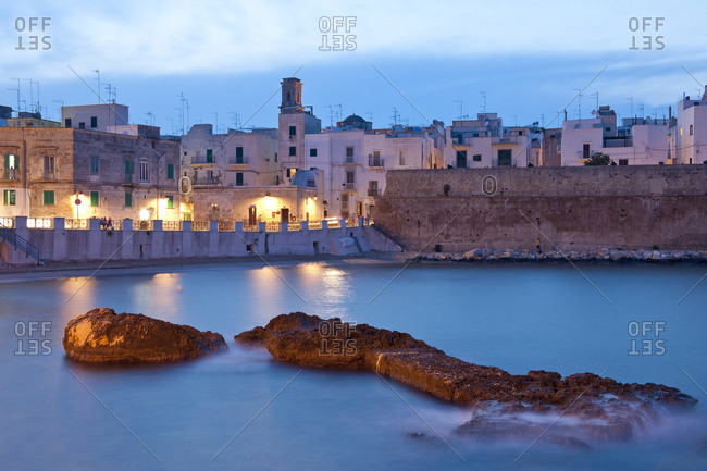Italy, Apulia, Monopoli . city wall along the sea