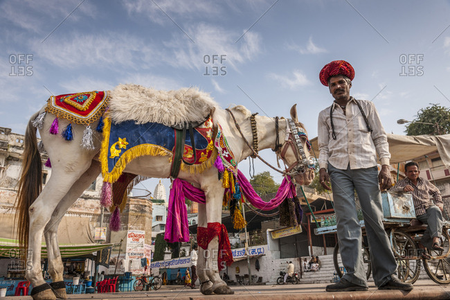 Ujiain, India - February 3, 2013: Daily life along Ram Ghat