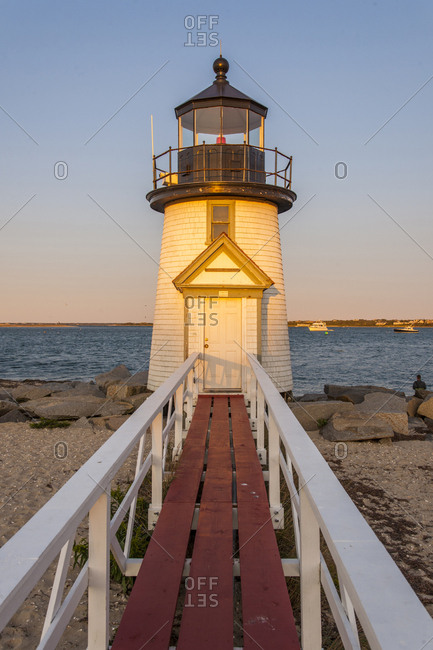 USA, Massachusetts, Nantucket Island . Brant Point Lighthouse
