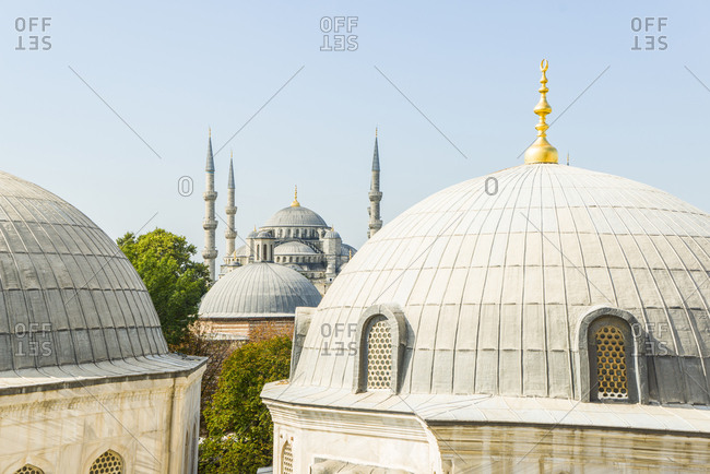 Turkey, Istanbul .  view of Sultanhamet Camii, the Blue Mosque from Aya Sofia