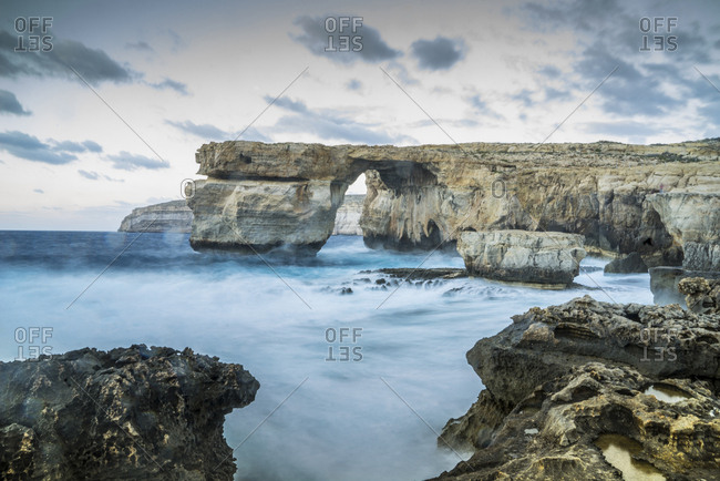 Malta, Gozo . seascape at Azure Window natural arch, near St Lawrence