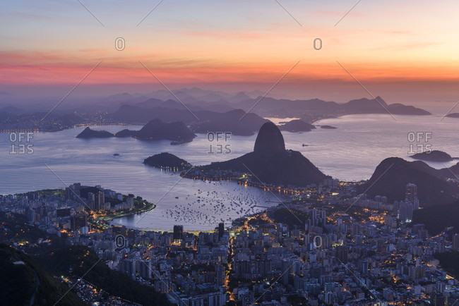 Sunrise Seen From Corcovado Mountain In Rio De Janeiro, Brazil