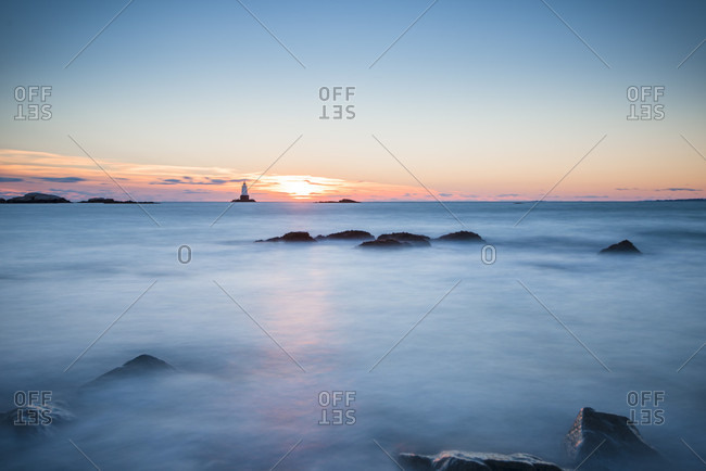 A Wintery Sunset By The Lighthouse Offshore Sakonnet Point Of Rhode Island