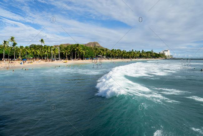 Honolulu, USA - August 29, 2014: Panoramic View Of Waikiki Beach In Honolulu