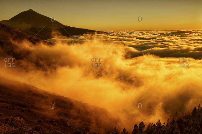 Scenic View Of A Cloudscape Covering Teide National Park In Spain