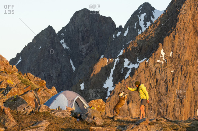 A Woman With Her Dog Camping On Blaine Peak Below Mount Sneffels