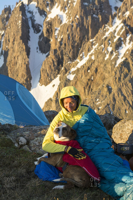 A Woman And Her Dog Camping On Blaine Peak Below Mount Sneffels