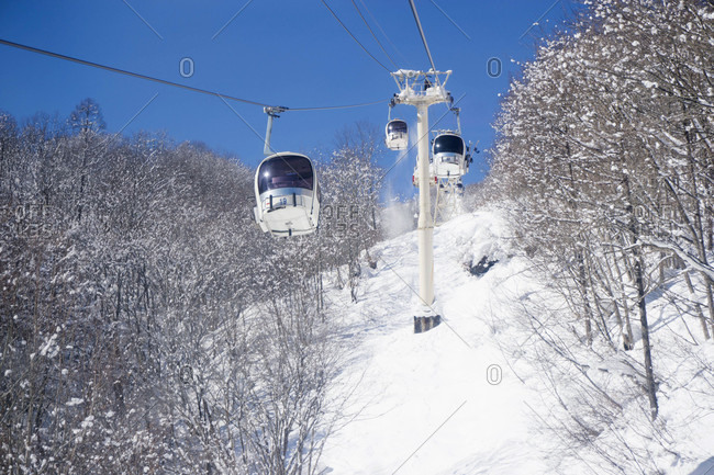 Gondola Cars At Happo One Ski Resort In Hakuba On A Sunny Day