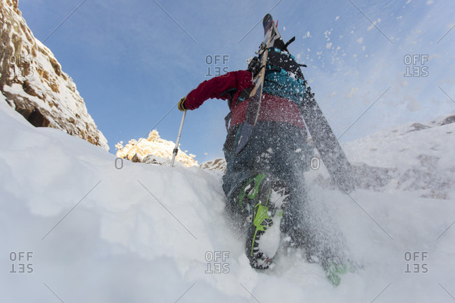Bootpacking Up Suicide Chute On Mount Superior In Utah, Usa