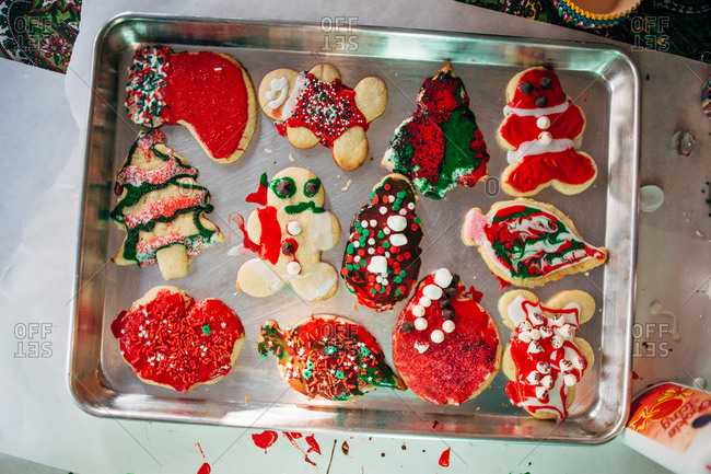 Assortment of home baked holiday cookies decorated by a child