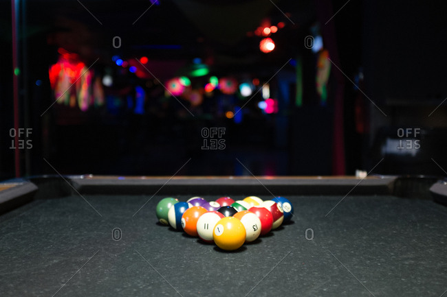 Cue balls set up for a game of pool