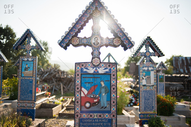 Sapanta, Romania - July 22, 2015: Tombstones in the Merry Cemetery