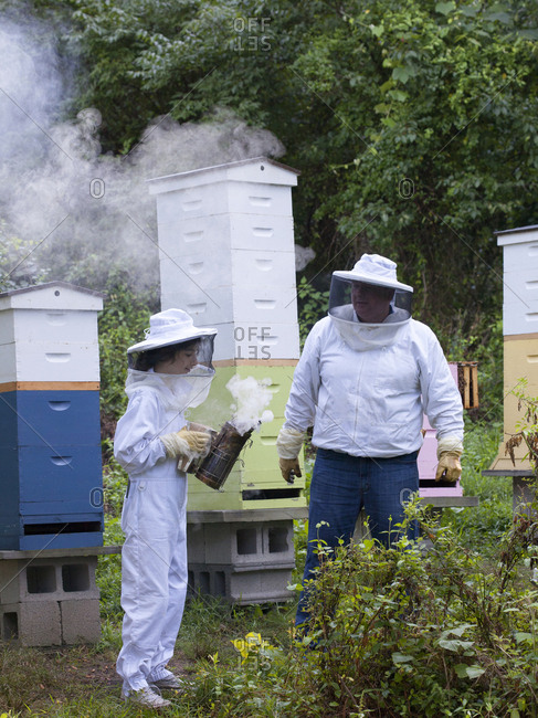 Two apiarist working bee hives in Upper Saddle River, New Jersey