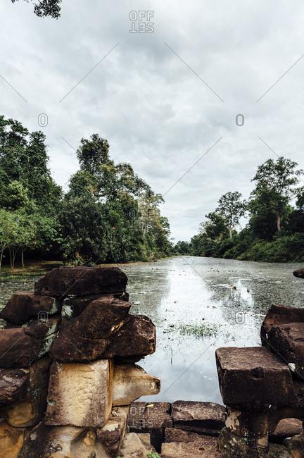 Landscape lake view in Angkor Wat, Cambodia