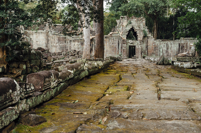 Archeological ruins at Angkor Wat temple, Cambodia