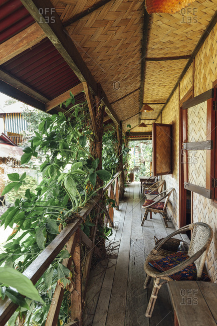 Porch view of a guest house in Vang Vieng, Laos