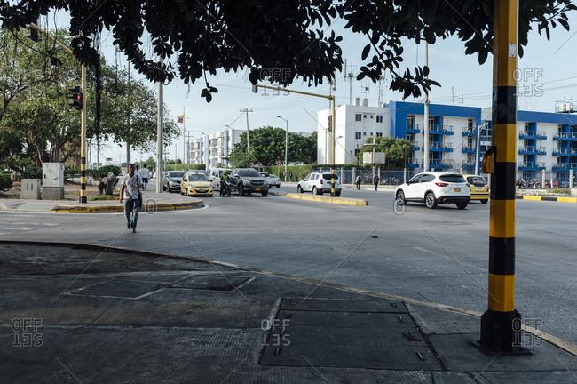 Cartagena de Indias, Colombia - March 3, 2017: Traffic jam at a main avenue of Bocagrande