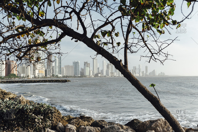 View of Bocagrande high buildings in Cartagena de Indias, Colombia