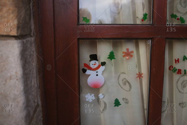Christmas stickers on door glass