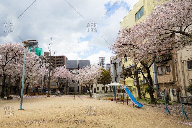 Osaka, JAPAN - April 4, 2014: Japanese playground surrounded by cherry blossom
