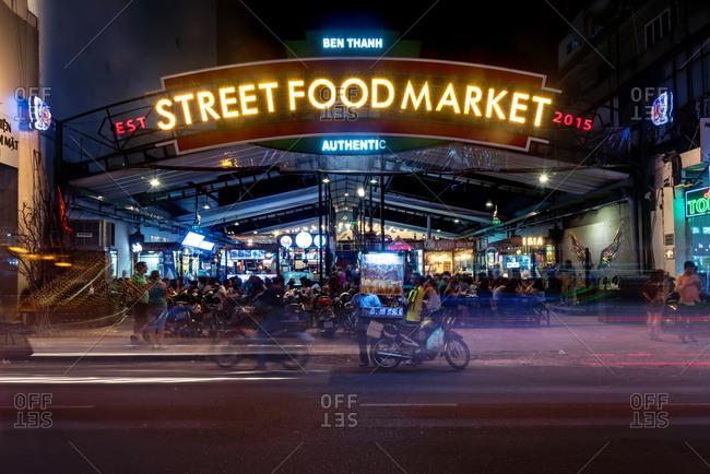 Saigon, Vietnam - January 1, 1904: Street food Market, Vietnam