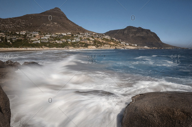 Waves in motion on the coast of Cape Town, South Africa