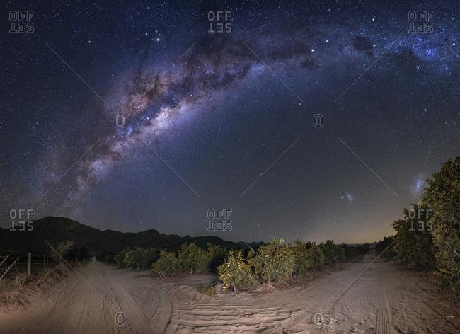 Milky Way over desert landscape in Citrusdal, South Africa