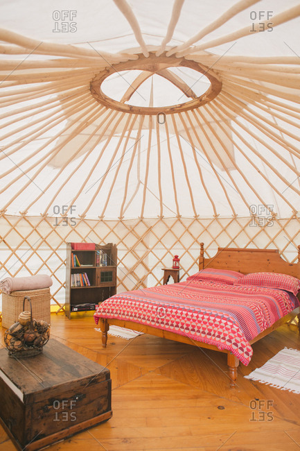 February 4, 2017 - Dordogne, France: Interior of yurt camping accommodations