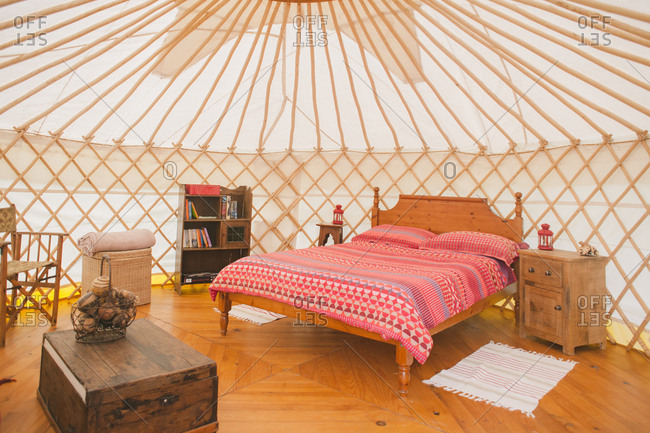 February 4, 2017 - Dordogne, France: Luxurious eco-camping yurt accommodations