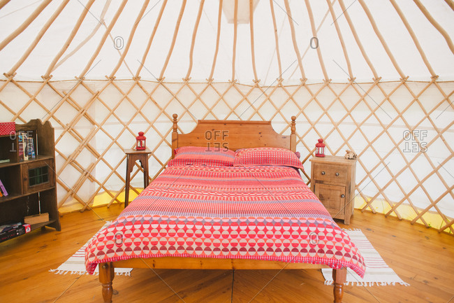 February 4, 2017 - Dordogne, France: Bed inside yurt camping accommodations