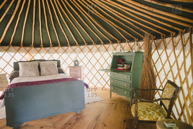 February 4, 2017 - Dordogne, France: Yurt furnished with antiques for a glamping experience