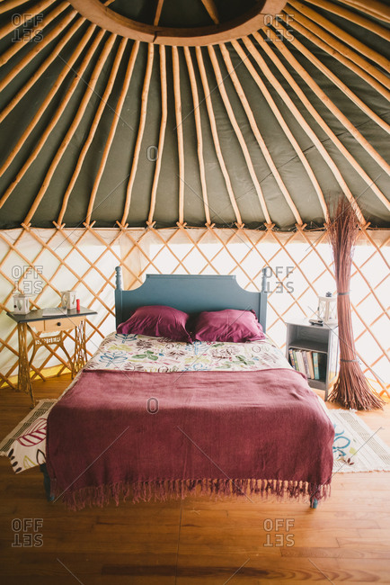February 4, 2017 - Dordogne, France: Cozy bed in a yurt shelter
