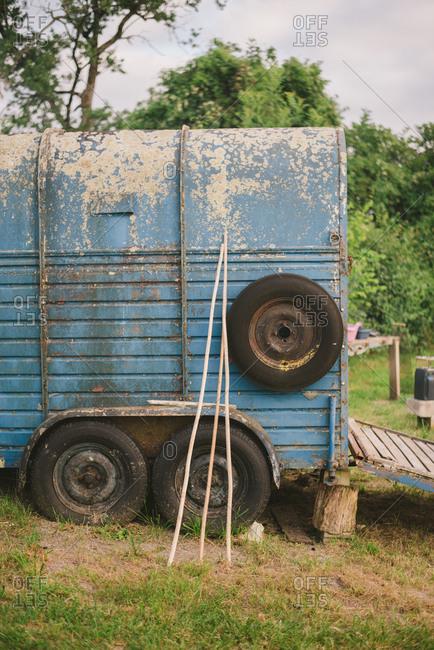 February 4, 2017 - Dordogne, France: Rustic vintage trailer on a farm