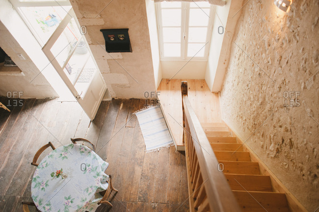 February 4, 2017 - Dordogne, France: Looking down stairway in rustic cottage