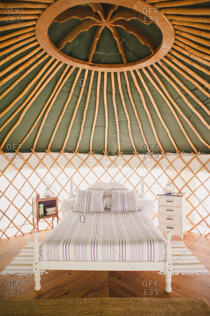 February 4, 2017 - Dordogne, France: Domed ceiling of yurt above bed