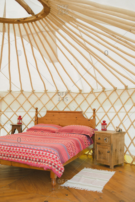 Interior of yurt in France