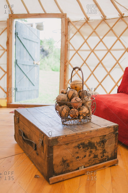 Interior of a yurt in France