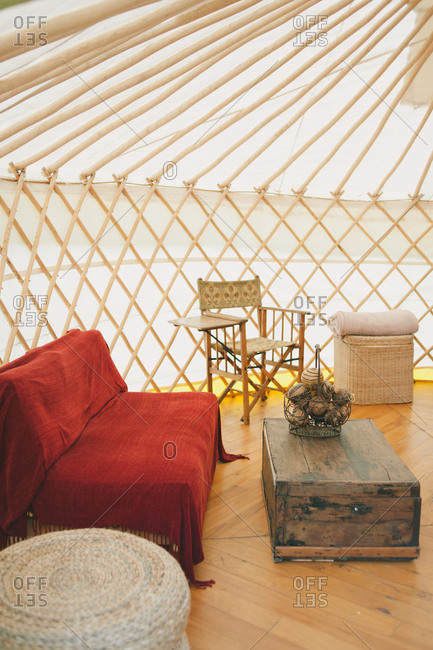 Seating area inside a yurt