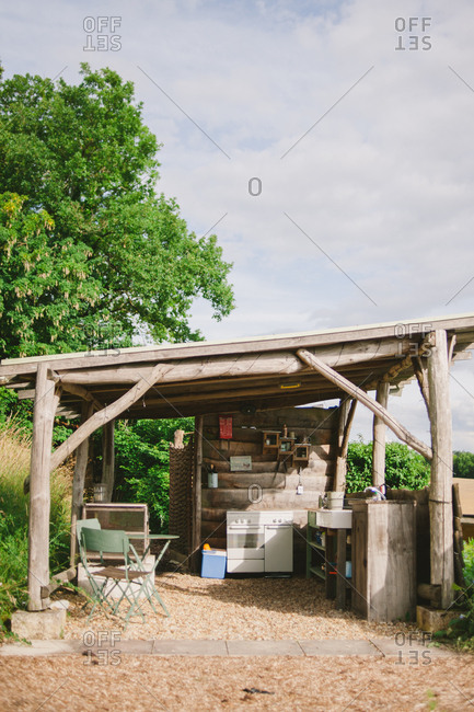 Rustic outdoor kitchen area