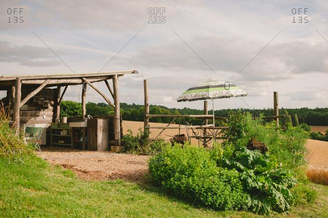 Rustic outdoor kitchen area in farmland