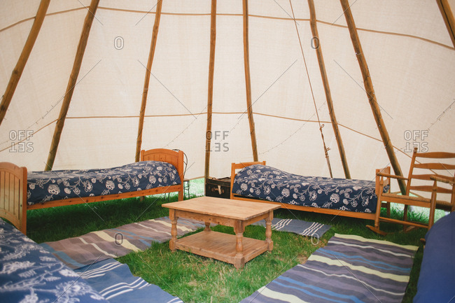 Beds under a yurt tent