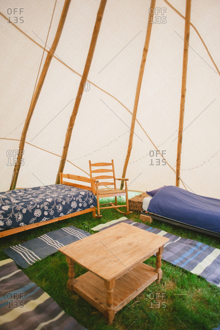 Beds inside a yurt tent