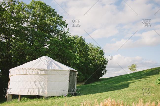 A yurt on a hillside