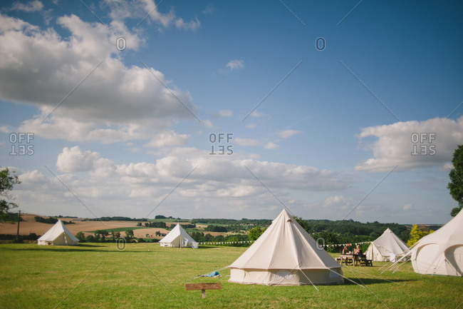 Yurts and tents in French countryside