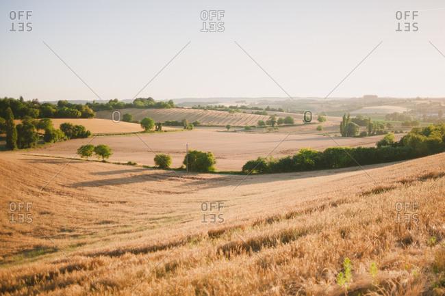 Rolling agricultural hills in rural France