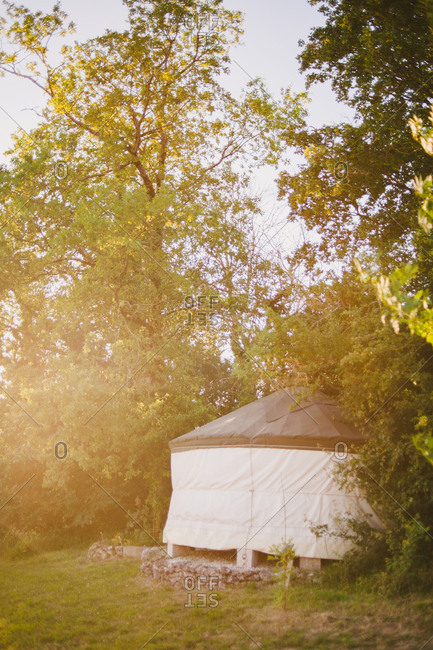 A yurt in rural sunlight