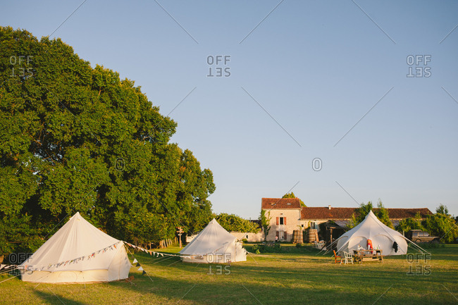Yurts in a country home lawn